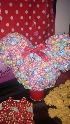 Lollipop centerpiece at a Minnie Mouse girl birthday parrty!  See more party planning ideas at CatchMyParty.com!