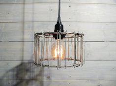 Steel Pendant Light - Galvanized Steel Cage - Repurposed Industrial Metal Pendant Lamp