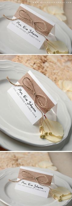 Rustic Wedding Place Card #countrywedding #barn #weddingideas