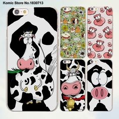 Funny animal Cute Cow Pigs cute face series hard transparent clear Cover Case for Apple iPhone 7 6 6s Plus SE 4s 5 5s 5c
