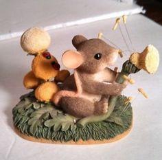 Dandelion Wishes Fitz Floyd Charming Tails Mouse Blowing Dandelion Figurine | eBay