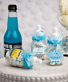 Personalized Blue Baby Bottle Favors - DIY Baby Shower Favors