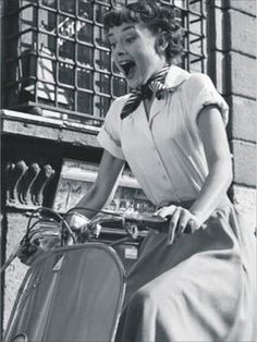 Audrey Hepburn in Roman Holiday. This is the face I make ALL THE TIME when I drive the scooter.