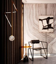 Mix of contemporary and postmodern design: Bec Brittain´s Helix-hanging lamp in brass and marble (2015) with Mario Botta´s Seconda-chair for Alias, Italy (1982). / Haute Savage