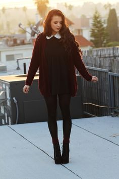 peter pan collar dress 2017 with cardigan Look Fashion, Fashion Beauty, Fashion Outfits, Womens Fashion, Fall Fashion, Fall Outfits, Casual Outfits, Cute Outfits, Peter Pan Collar Dress