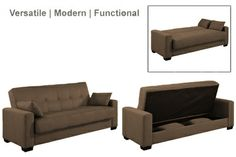 Napa Modern Convertible Futon Sofa Bed Sleeper Chocolate