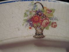 flower baskets, basket blue, blue trim, platter flower