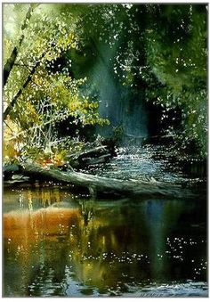 watercolor river by Nita Engle.  Cover painting on  her book.  This is a fabulous watercolor techniques book and the images are stunning. Nita is likely going down in history as one of America's premier watercolor artists/illustrators of magazines, etc. :D
