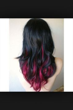 20 ideas for red ombre hair. List of red ombre hair colors. Red ombre hair color ideas for a bold new look. Pink And Black Hair, Black Hair Ombre, Hair Color Pink, Cool Hair Color, Black Ruby, Black Hair Pink Highlights, Hair Colors, Pink Peekaboo Hair, Grey Balayage