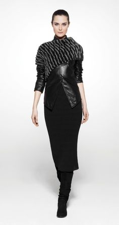 Sarah Pacini....Black Knitted Dress, Asymmetric Collar