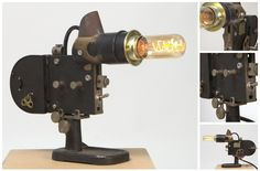 Lamp made from old microscope lighter; looks great industrial steampunk upcycle Plan B Lamps No. 7