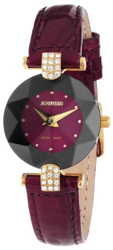 cd2793bce5b3d Jowissa Womens J5013S Facet Strass Gold PVD Dimensional Glass Maroon  Leather Rhinestone Watch