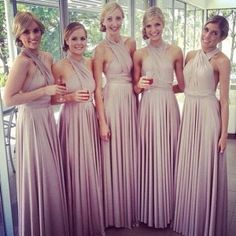 Bridesmaids wearing the Goddess by Nature Multi-Way Dress in Blush Pearl