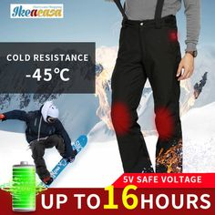 Men Snowboard Waterproof Ski Pants USB Infrared Heated //Price: $104.68 & FREE Shipping // #interior #decor #homedecor Snowboard, Surf, Pantalon Ski, Skier, Shipping Packaging, Ski Pants, Koh Tao, Parachute Pants, Trousers