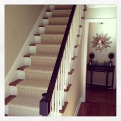 Winding Stairs Carpet Runner With Dark Cotton Border