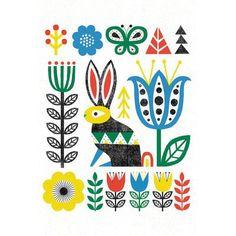 "Mercury Row Folk Lodge (Rabbit) Graphic Art on Wrapped Canvas Size: 26"" H x 18"" W x 1.5"" D"