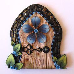 Blue Flower Fairy Door Pixie Portal by Claybykim on Etsy, $20.00