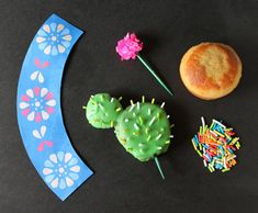 what you will need to make cactus cupcakes - tutorial and recipe