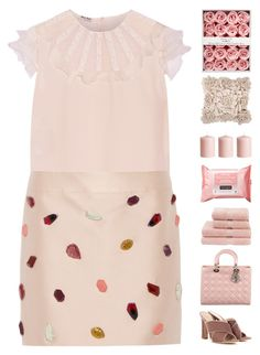 """""""Brunch"""" by igedesubawa ❤ liked on Polyvore featuring Miu Miu, STELLA McCARTNEY, Gianvito Rossi, Christian Dior, Christy, Neutrogena, H&M, simpleoutfit, simpleset and blushpink"""