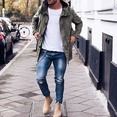 Men's Olive Lightweight Parka, White Crew-neck T-shirt, Blue Jeans, Tan Suede Chelsea Boots