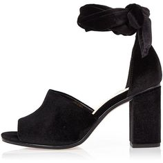 River Island Black velvet block heel sandals ($27) ❤ liked on Polyvore featuring shoes, sandals, heels, black, ankle strap high heel sandals, black heeled shoes, ankle strap sandals, open toe sandals and block-heel sandals