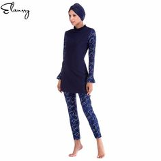 cdd70a7b49 2018 Muslim Swimwear Women Modest Floral Print Full Cover Long Sleeve Swimsuit  Islamic Hijab Islam Burkinis