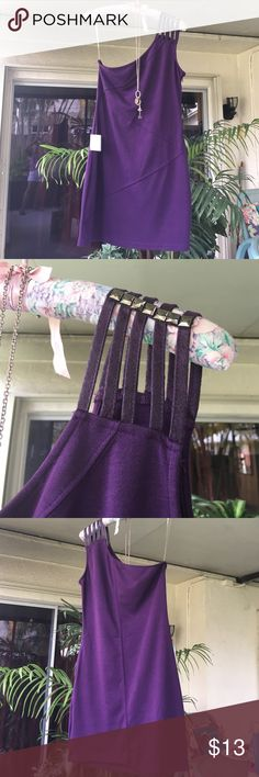 PRETTY PURPLE DRESS Hangs off 1 shoulder with cute soft faux leather straps studded w/silverish black hardware. BNWT Sz.Lge. hangs 32 in. & has 15 in zipper along side w/add. clasp for secure closure. 100% Poly. has extremely good stretch.Adorable & Stylish. just never used. doesn't seem huge for size lge. Mustard Seed Dresses Mini