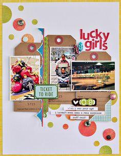 Lucky Girls #layout by Sasha Farina #scrapbook #papercrafts