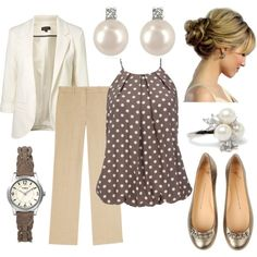 Love the polka dot top with the white blazer ~ whole outfit is pretty & elegant