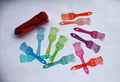 cute paintbrush hand carved stamp