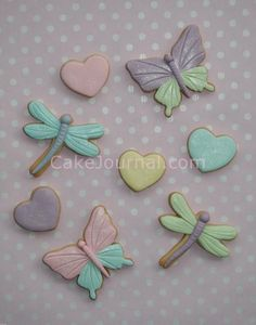 Dragonfly and heart cookies
