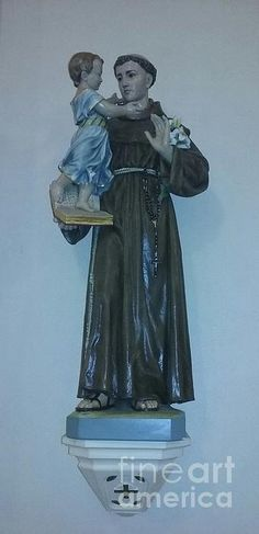 Beautiful antique statue of St. Anthony located in Our Lady of Mercy in Opelousas, Louisiana.