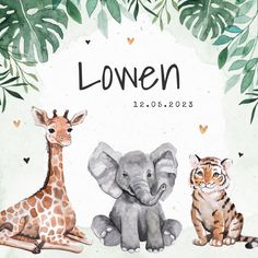 The nicest birth announcement for your child - Hip birth card for a boy or girl with jungle animals! A giraffe, an elephant and a tiger! With smal - Country Babys, Country Baby Names, Irish Baby Names, Hippie Baby, Androgynous Boy, Unisex Baby Names, Baby Name List, Baby Memories, Newborn Outfits