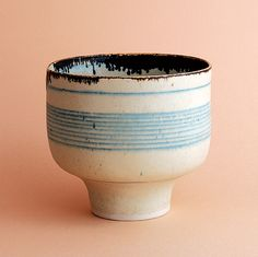 Simple form, smaller with the foot, blue lines and tiny bit of dripping is nice. Lucie Rie; bowl / porcelain / height 8,5 cm.