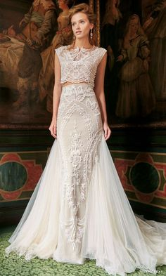 solo merav bridal gowns 2016 adriana exquisite two piece wedding dress gorgeous hand embellished details / http://www.deerpearlflowers.com/two-piece-wedding-dresses/