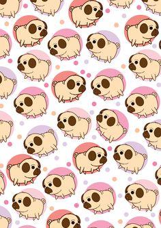 Pugs in a pattern