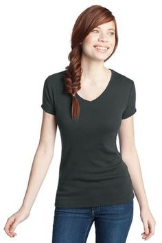Buy the District - Juniors 1x1 Rib V-Neck Tee Style DT234V from SweatShirtStation.com, on sale now for $9.98 #charcoal #basics #tees #tops #juniors #district