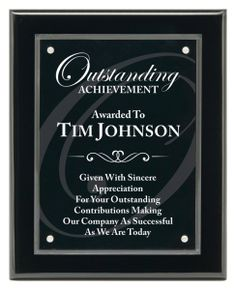 Black Piano Finish Individual Plaque Award Trophy