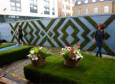 King's Cross Picnic by Anna Garforth.  Architecture firm Squire and Partners hold an annual street party during London festival of architecture. This year they commissioned a mossy tapestry.