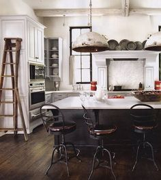 reclaimed light fixture in this kitchen
