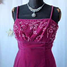 60's Fuschia Pink Velvet Cocktail Wiggle Dress by prettyinprague, $72.00