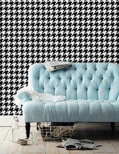Hounds Tooth Self Adhesive Removable Wallpaper Z008 by Livettes