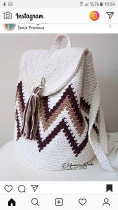 Ideas Knitting Bag Diy Handbags Diy Knitting * ideen strickbeutel diy handtaschen diy stricken * idées tricot sac sacs à main diy tricot diy Crochet Backpack Pattern, Free Crochet Bag, Crochet Shell Stitch, Crochet Tote, Crochet Handbags, Crochet Purses, Knit Crochet, Crochet Stitches, Tote Pattern
