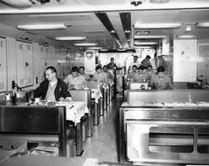 View of the crews mess aboard USS Mariano G. Vallejo (SSBN-658) December 1966.