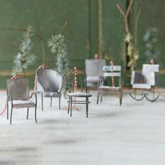 """Six classic chair styles are represented by this offbeat ornament collection.- Set of 6- Metal- Wipe clean with dry cloth- Indoor use only- ImportedEach: approximately 2.5""""H, 4""""W"""