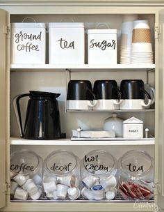 Organized coffee cabinet with free printable labels.
