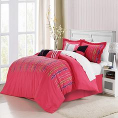 Swimmy Fuchsia 8 piece Embroidered Comforter Bed In A Bag Set