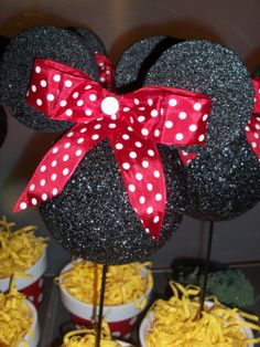 mickey and minnie birthday party-Minnie centerpieces