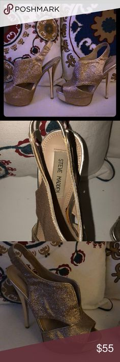 Steve Madden Gold Heels Size 7 Worn ONCE!! Excellent condition!  Great party shoes!! Steve Madden Shoes Heels