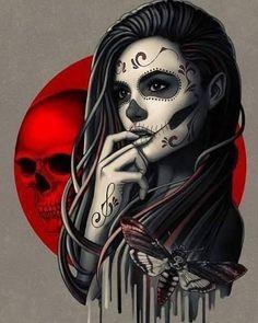 Sugar Skull Girl with Moth Art Print Sugar Skull Mädchen, Sugar Skull Girl Tattoo, Sugar Skull Artwork, Girl Skull, Sugar Skull Drawings, Sugar Skull Wallpaper, Sugar Skull Design, Chica Gato Neko Anime, Catrina Tattoo